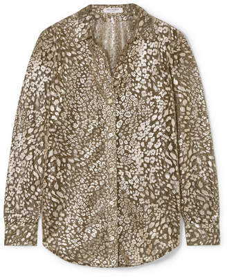 Equipment Essential Leopard-print Lurex-blend Blouse - Gold