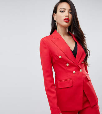 Missguided Tall tall military blazer in red