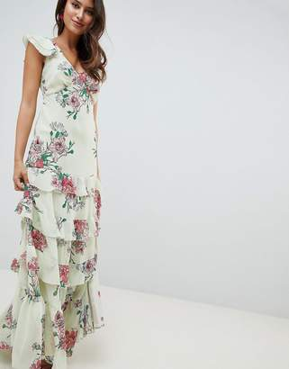 Asos Design DESIGN tiered ruffle maxi Dress in floral print