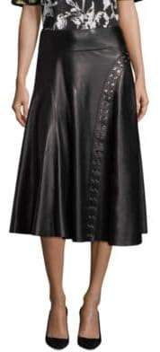 Derek Lam Flared Leather Skirt