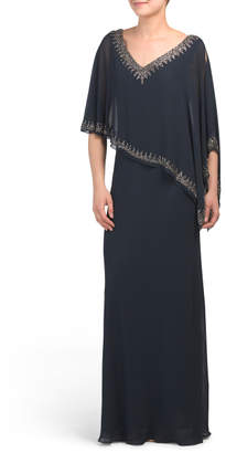 J Kara Made In India Beaded Capelet Gown
