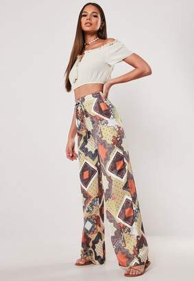 Missguided Gold Satin Scarf Print Wide Leg Pants
