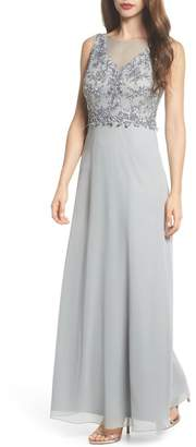 Adrianna Papell Embellished Mesh Bodice Gown (Regular & Petite)