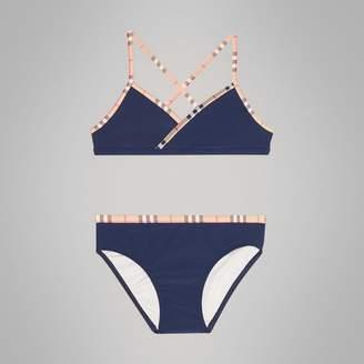 Burberry Check Trim Bikini , Size: 3Y, Blue