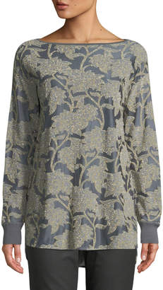 Lafayette 148 New York Phoenix Boat-Neck Long-Sleeve Floral Metallic Mesh Top