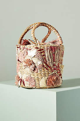 Aranaz Catalina Embroidered Straw Bucket Bag
