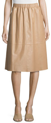 Leather A-Line Midi Skirt $425 thestylecure.com