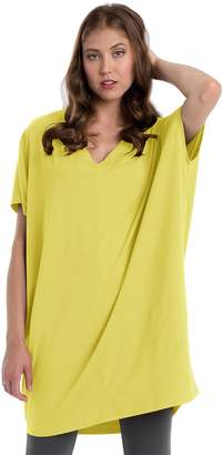 Neon Buddha Women's Oversized Tunic Dress Female Loose Fit Long V Neck Shirt with Original Short Sleeves and Vertical Seam