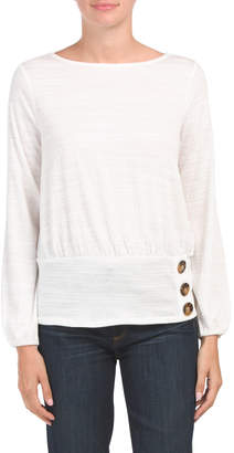 Wide Band Hem With Button Top