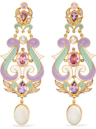 Papi Percossi Gold-plated And Enamel Multi-stone Earrings - Lavender