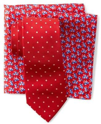 Tommy Hilfiger Dot & Flower Tie & Pocket Square Set
