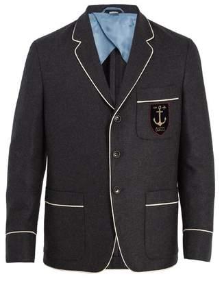 Gucci - Logo Appliqué Cashmere Blazer - Mens - Navy