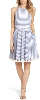 Eliza J Stripe Fit & Flare Dress