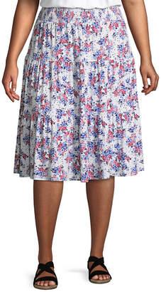 ST. JOHN'S BAY Midi Tiered Skirt - Plus