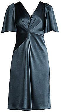 Elie Tahari Women's Silvana Twist-Front Satin Dress