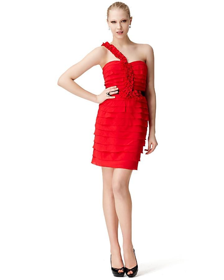 BCBGMAXAZRIA One-Shoulder, Belted Tiered Dress
