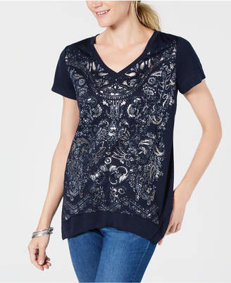 Style&Co. Style & Co Metallic-Print T-Shirt, Created for Macy's
