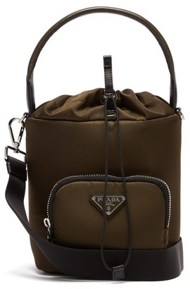Prada Logo Plaque Nylon Bucket Bag - Womens - Khaki Multi