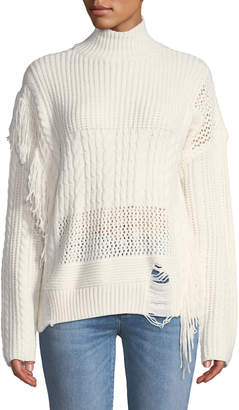 Free Generation Fringed Chunky Cable-Knit Sweater