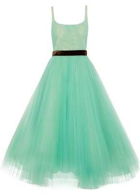 J. Mendel J.mendel Velvet-Trimmed Pleated Tulle Maxi Dress