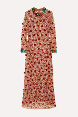 Ashish Lady Garden Embellished Tulle Maxi Dress - Red
