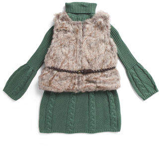 Little Girls Cable Sweater Dress With Faux Fur Vest