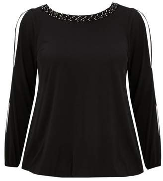 Evans Black Long Sleeve Sparkle Trim Top