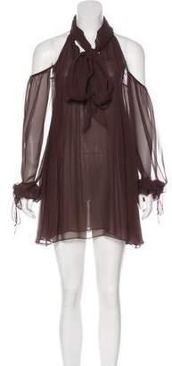 Thomas Wylde Silk Cold Shoulder Dress