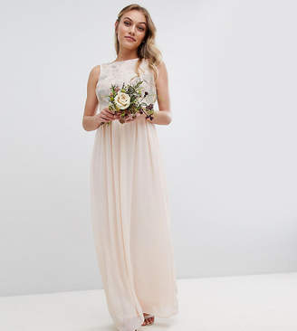 TFNC Petite Maxi Bridesmaid Dress With Soft Floral Sequin Top