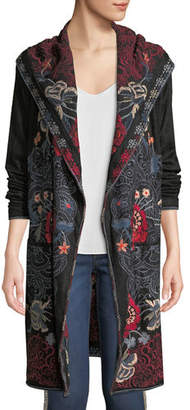 Johnny Was Bella Hooded Open-Front Embroidered Cardigan