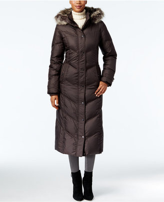 London Fog Faux-Fur-Trim Maxi Puffer Coat $350 thestylecure.com