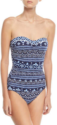 Tommy Bahama Bandeau Printed One-Piece Swimsuit