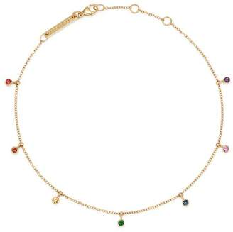 Chicco Zoë 14K Yellow Gold Rainbow Sapphire Dangle Anklet