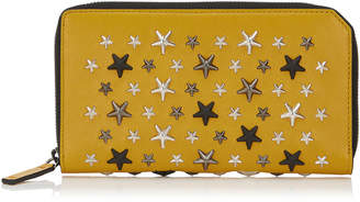 Jimmy Choo CARNABY Mustard Leather Travel Wallet with Multi Metal Stars