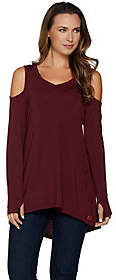 Peace Love World Long Sleeve Knit Top withCold Shoulder