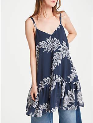 Somerset by Alice Temperley Palm Print Mini Dress, Cornflower Blue