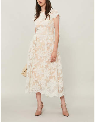 Simone Rocha Floral lace-embroidered tulle midi dress