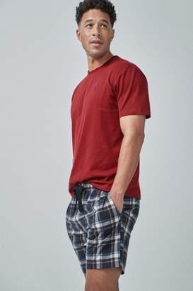 Next Mens Red/Navy Check Cosy Short Pyjama Set - Red