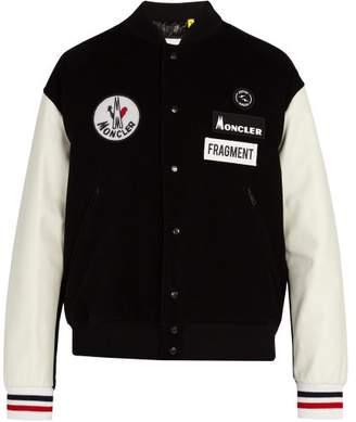 Moncler 7 Fragment - Leather Sleeve Cotton Corduroy Bomber Jacket - Mens - Black White