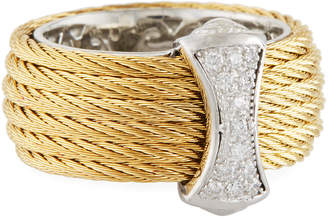 Alor Classique Steel & 18k Diamond Micro Cable Ring, Size 7, Gold