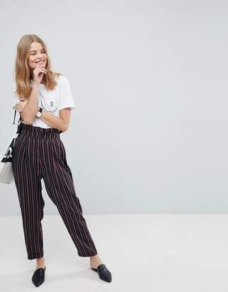 Asos Design Tailored Tapered Pant with Ruffle Paperbag Waist in Stripe