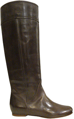 Chloé Flat Knee-high Leather Boots In Dark Brown
