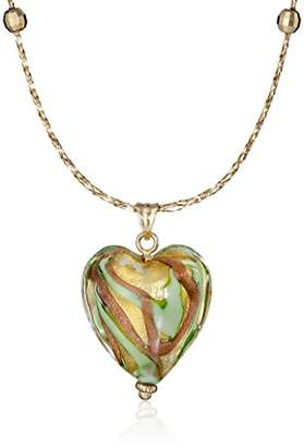 Glass Heart 14k Yellow Gold Mesh Neck Wire with Murano Pendant Necklace