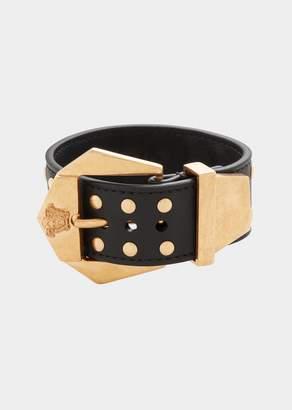 Versace Stud Buckle Leather Bracelet