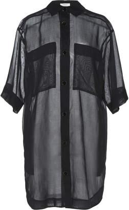 Áeron Tammy Linen-Blend Sheer Shirt Dress Size: 32