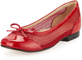 Taryn Rose Blanche Mesh & Patent Ballerina Flat, Red $189 thestylecure.com