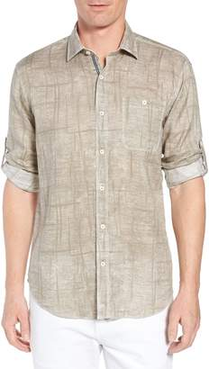 Bugatchi Shaped Fit Linen Sport Shirt