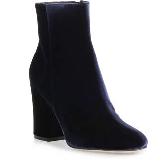Gianvito Rossi Shelly 85 navy velvet ankle boot