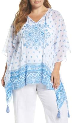 Vince Camuto Persian Medallion Tassel Poncho