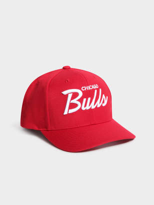 Mitchell   Ness Chicago Bulls Script Pre Curve Snapback in Red c9c805a9ebec